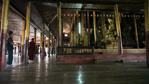 Visitors inside Nga Phe Kyaung Monastery Footage