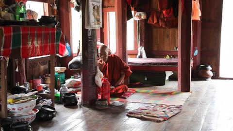 Monk inside Monastery Stock Video Footage