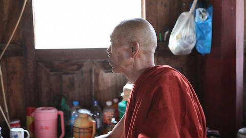 Monk inside Monastery Stock Video Footage