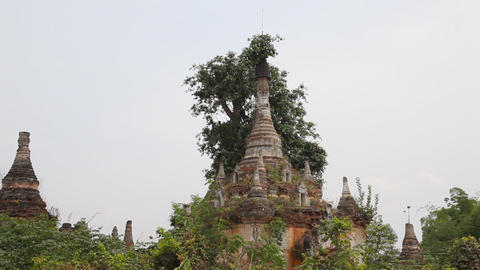 Pagoda in Samkar village, Myanmar Stock Video Footage