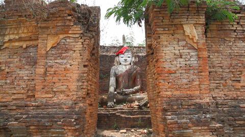 Buddha in Pagoda of Samkar village, Myanmar Stock Video Footage