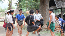Young adult play ball in Samkar village Stock Video Footage