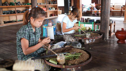 Cigarettes Workshop On Inle Lake stock footage