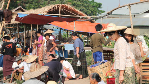 Shopping at the Ywama Market Footage