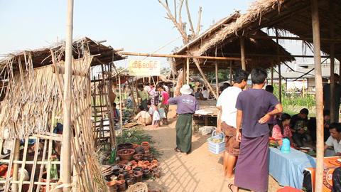 Shopping at the Ywama Market Footage