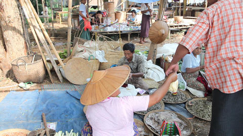 Shopping at the Ywama Market Stock Video Footage