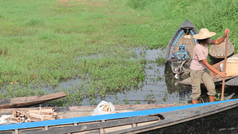 Boats at the Ywama market Footage