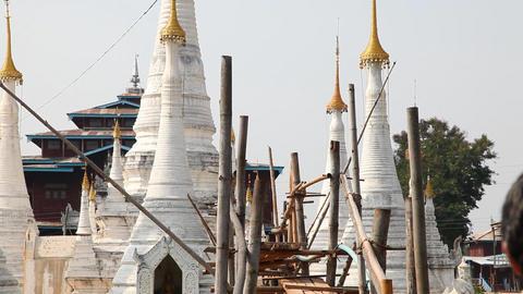 Bridge at the Ywama pagoda Stock Video Footage