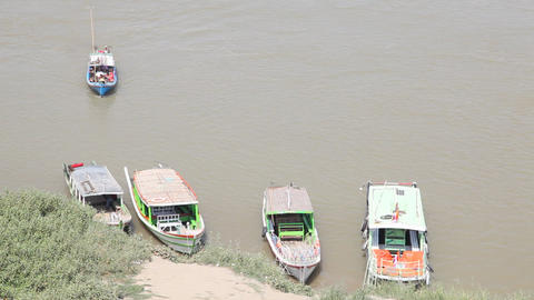 Boats on Irrawaddy River Footage