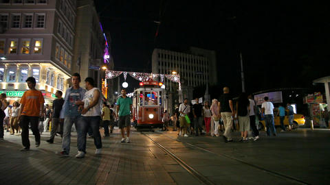 Istiklal street tram Stock Video Footage