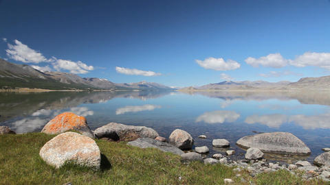 Mountain lake Khoton Nuur in Mongolian Altai Footage