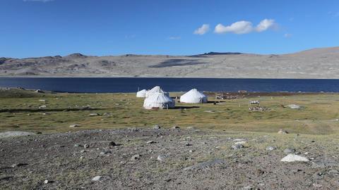 Mountain yurt at Khoton Nuur lake Stock Video Footage