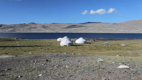 Mountain yurt at Khoton Nuur lake Stock Video Footage