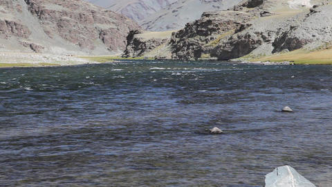 Mountain river Khovd in Mongolian Altai Stock Video Footage