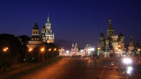 Kremlin and Saint Basil's Cathedral night timelapse Footage