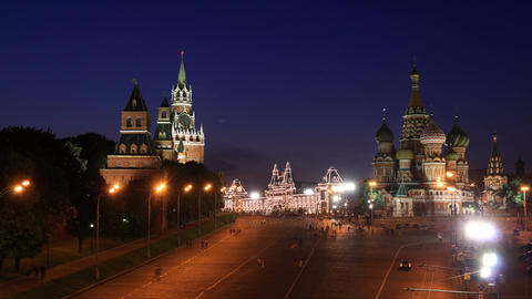 Kremlin and Saint Basil's Cathedral night timelapse Stock Video Footage
