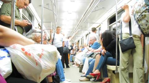 Moscow Metro Wagon Scene Timelapse stock footage