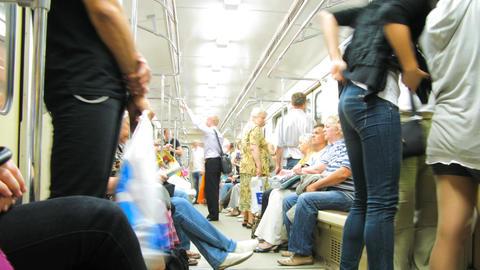 Moscow metro wagon scene timelapse Stock Video Footage