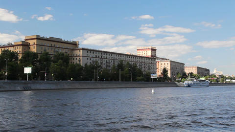 Travel along river bank in Moscow Footage