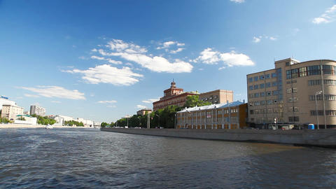 Travel along river bank in Moscow Stock Video Footage