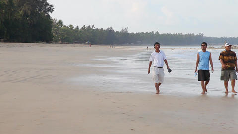 People on white sand beach Stock Video Footage