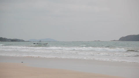 Ngapali beach sunset boat 7596 HD Stock Video Footage