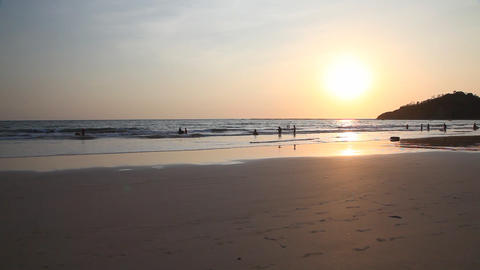 Ngapali beach sunset, Myanmar Stock Video Footage