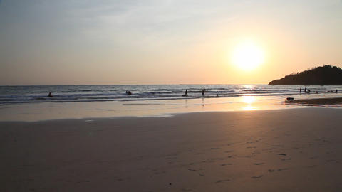 Ngapali beach sunset, Myanmar Footage