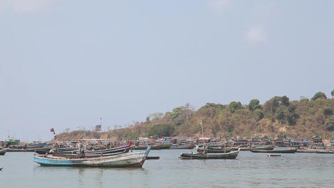 Fishing village bay Stock Video Footage