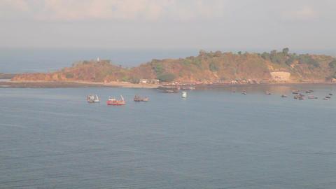 Fishing village bay Stock Video Footage