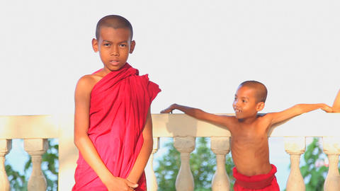 Ngapali fishing village young monks edit 7986 HD Footage