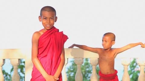 Ngapali fishing village young monks edit 7986 HD Stock Video Footage