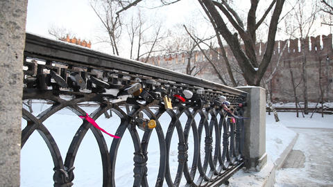 Bridge on Novodevichy Convent pond Stock Video Footage
