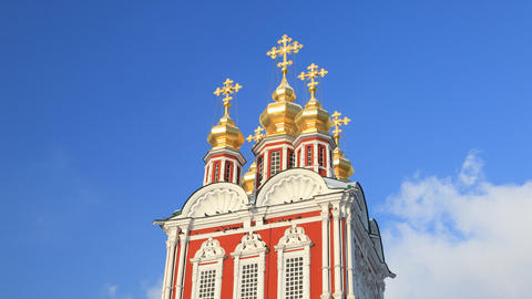 Novodevichy Convent cross tl pan 01 Stock Video Footage