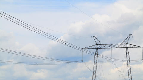 Power lines timelapse Stock Video Footage