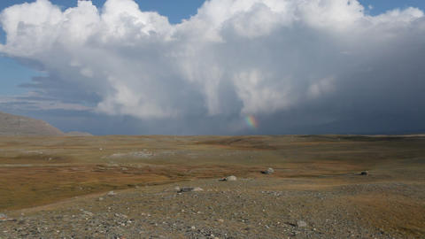 Rainbow in Mongolian Altai Stock Video Footage