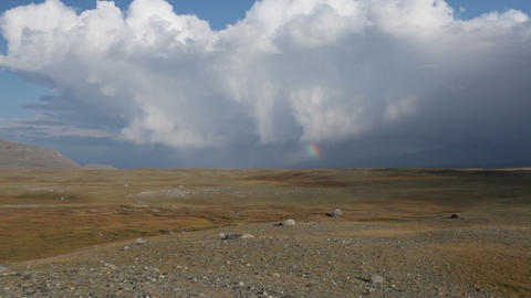 Rainbow in Mongolian Altai Stock Video Footage