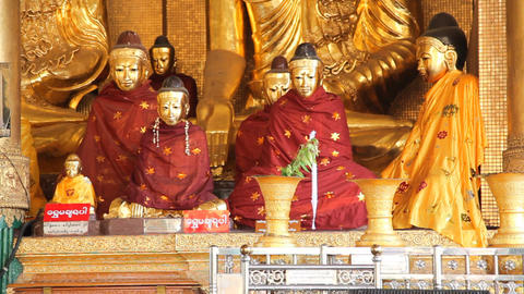 Buddha in Shwedagon Pagoda Stock Video Footage