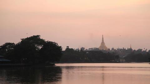 Shwedagon Pagoda sunset Stock Video Footage