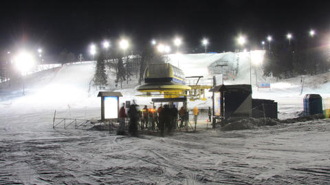 Skiing resort night timelapse Stock Video Footage