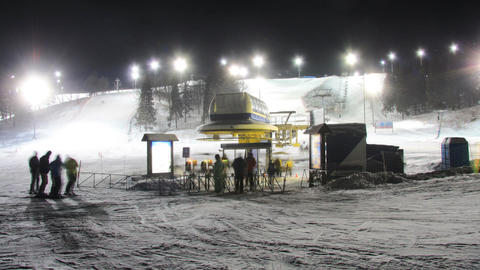 Skiing resort night timelapse Live Action
