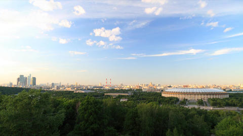Panorama of Moscow city timelapse during sunset Stock Video Footage