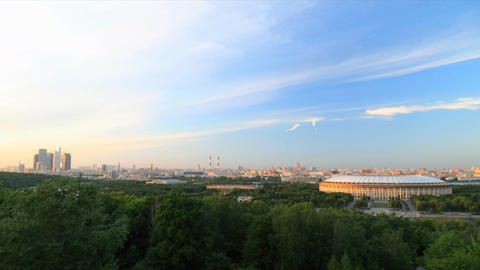 Panorama of Moscow city timelapse during sunset Footage