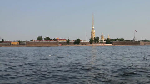 Travel along Neva river in St. Petersburg , Russia Stock Video Footage