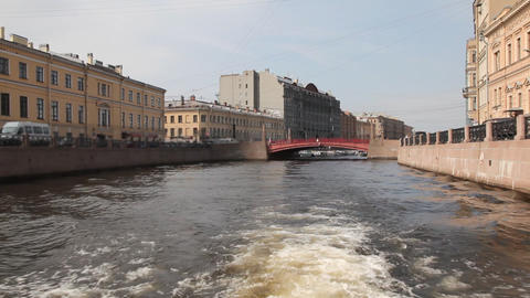 Travel along Griboedov channel in St. Petersburg , Russia Footage