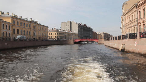 Travel along Griboedov channel in St. Petersburg , Russia Stock Video Footage