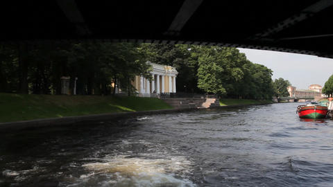 Travel along Moika and Fontanka channels in St.... Stock Video Footage