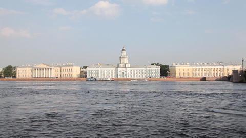 Neva river and Kundskamera building in St. Petersburg ,... Stock Video Footage