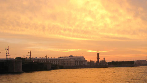 Dvortsovy Bridge over Neva river in St. Petersburg timelapse Footage