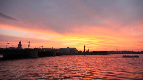 Dvortsovy Bridge over Neva river in St. Petersburg Stock Video Footage